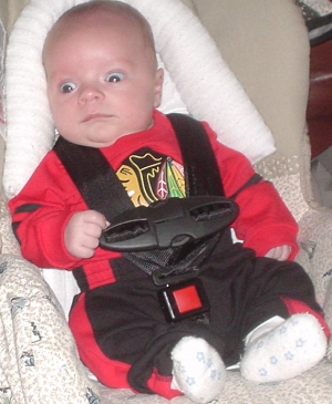Nate in his Chicago Blackhawks outfit on his way to the Bakersfiled Condors vs. San Diego Gulls Game.