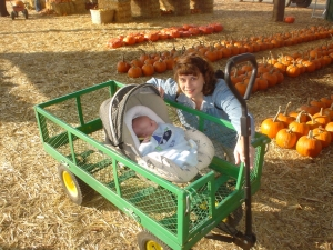 Nate and Laura at the pumpkin patch on Valencia Blvd.