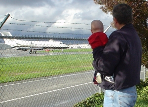 Nate and his dad at Van Nuys Airport on December 29, 2004.