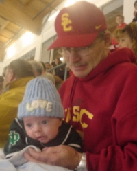 Nate and Grandpa at the USC vs. UCLA hockey game On December 3, 2004.