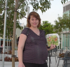 Laura with her dinner during a break in her counseling course at Azusa Pacific University on September 15, 2004.