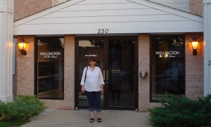 Laura in front of our apartment complex in Dakota Dunes, SD